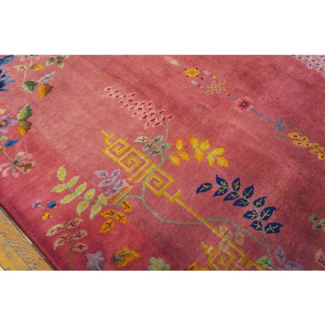 Antique Chinese Art Deco Rug- 8′10″ × 11′4″ For Sale - Image 4 of 7