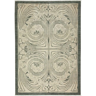 "Shalimar, Hand Knotted Art Nouveau Wool Area Rug - 6' 3"" X 8' 8"" For Sale"
