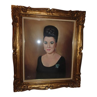 Mid-Century Framed Pastel Portrait of Italian Woman Signed Jarrold For Sale