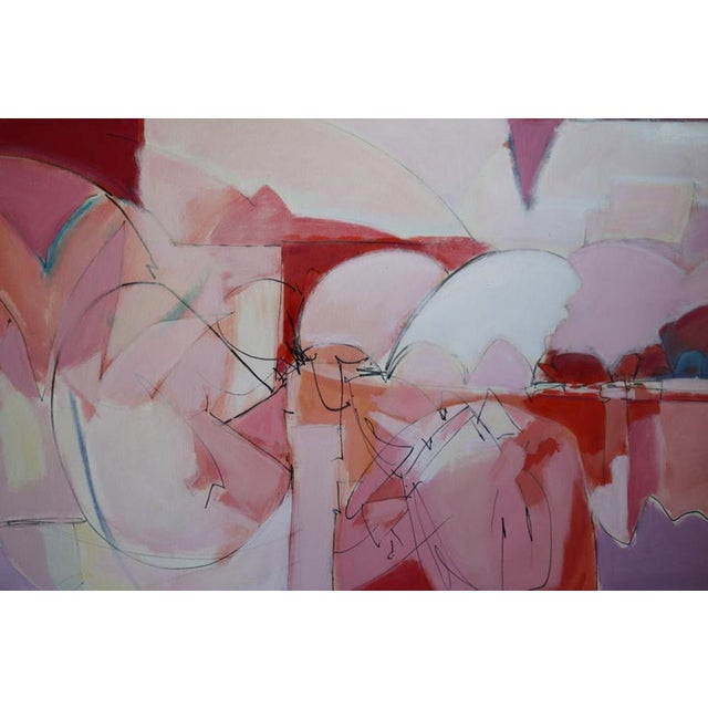 1980s Huge Wesley Johnson Abstract Oil Painting in Variation of Pink For Sale - Image 5 of 9