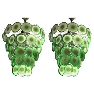 Art Deco Style Circular Murano Glass Sphere Chandeliers - A Pair For Sale