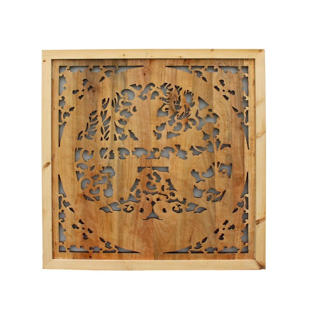 Chinese Square Flower Fishes Wooden Wall Plaque Panel For Sale - Image 4 of 5