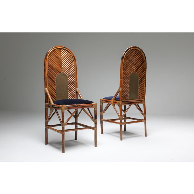1970s 1970s Vivai Del Sud Dining Chairs in Bamboo, Brass & Blue Velvet - Set of 8 For Sale - Image 5 of 13