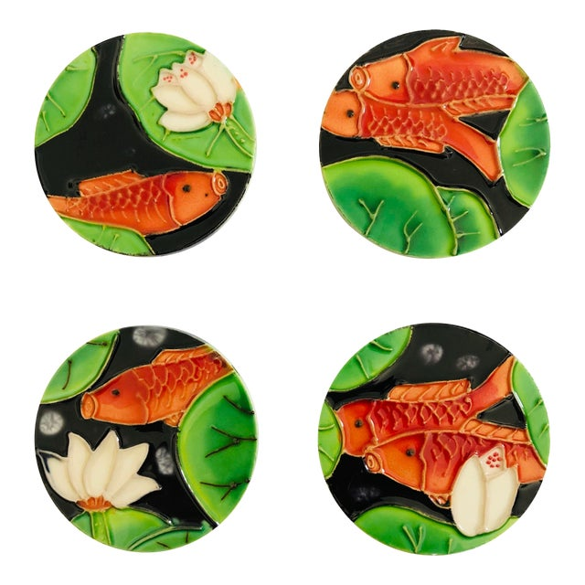 Contemporary Chinoiserie Style Glazed Ceramic Koi Fish Magnets - Boxed Set of 4 For Sale