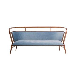 Contemporary Mid Century Style Scandinavian Modern Walnut Sofa For Sale