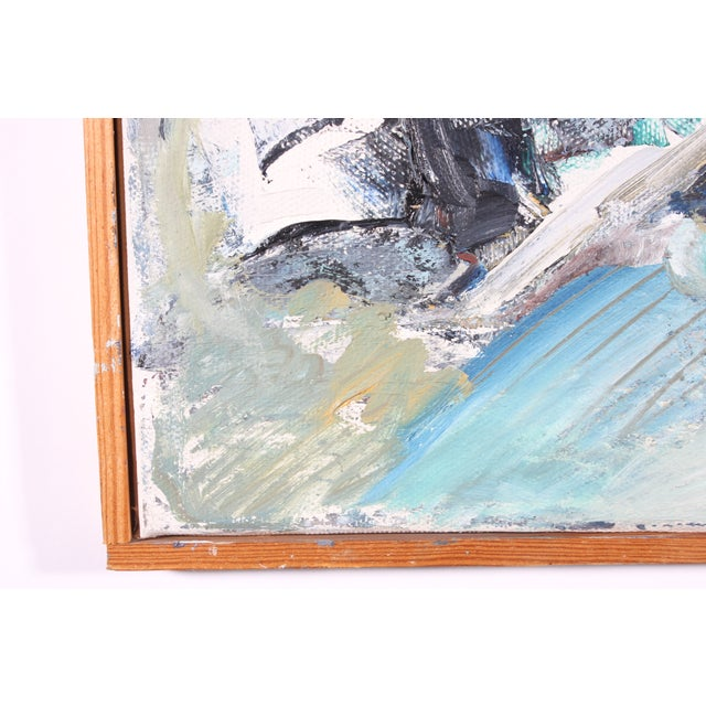 """Vintage Abstract """"Muddled Dream"""" Oil Painting - Image 3 of 3"""