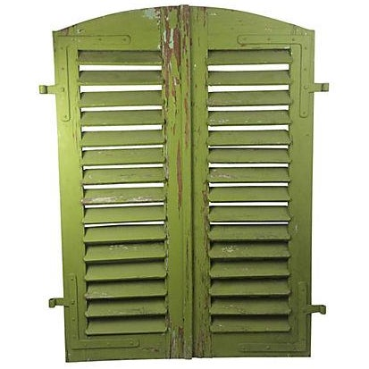 Arched French Green Shutters - A Pair - Image 1 of 3