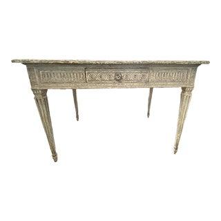 Louis XVI Painted Bureau Plat/Writing Desk With Faux Marble Top For Sale
