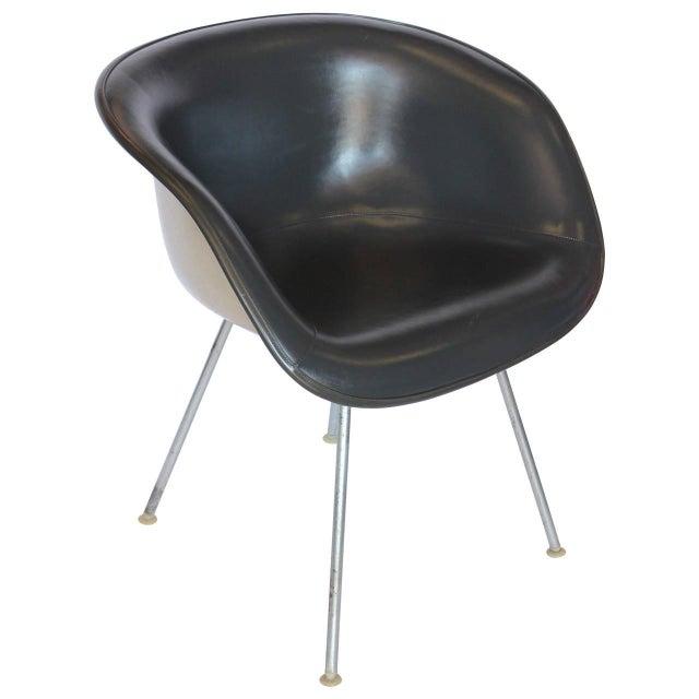 Unusual Eames grey naugahyde chair by Herman Miller.