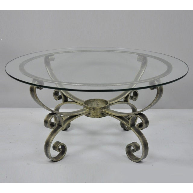 Late 20th Century Vintage Scrolling Iron & Glass Top Coffee Table For Sale - Image 11 of 11