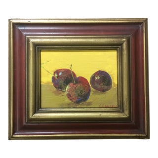 "Contemporary Impressionist Original Still Life Painting ""Cherries"" by Christine Carapico McGowan."