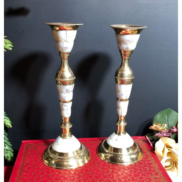 Vintage Mid-Century Modern Brass Mother of Pearl Candle Holders - Set of 4 For Sale - Image 11 of 12