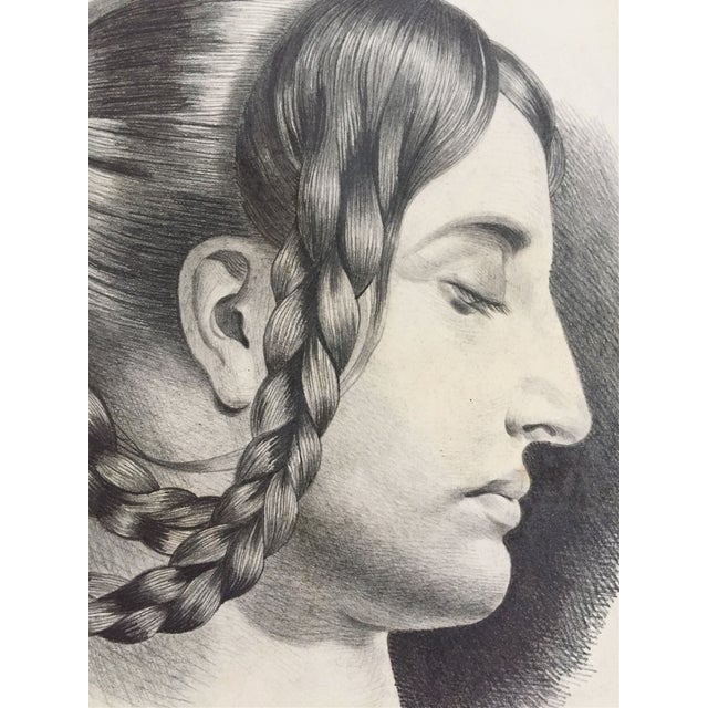 Antique French Master Drawing of Woman in Braids For Sale - Image 4 of 5