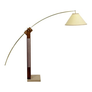 1960s Mid-Century Modern Large Wood and Brass Adjustable Arc Floor Lamp For Sale