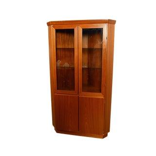 Skovby Danish Modern Teak Corner Cabinet Display Case For Sale