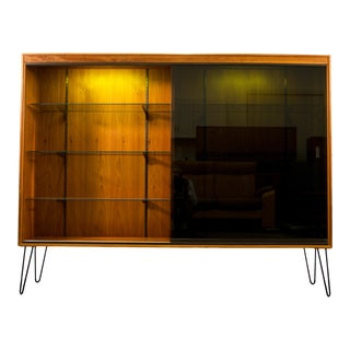 1970's Walnut Display Case With Black Smoke Glass Door For Sale