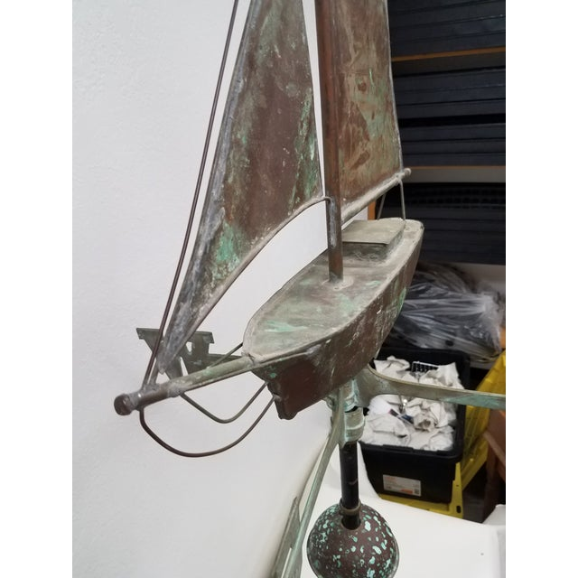 Metal Antique Copper Boat Weathervane For Sale - Image 7 of 13
