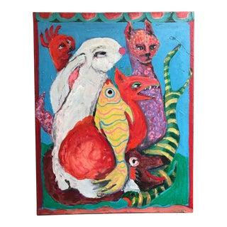 1970s Vintage Surrealist Animals Painting For Sale