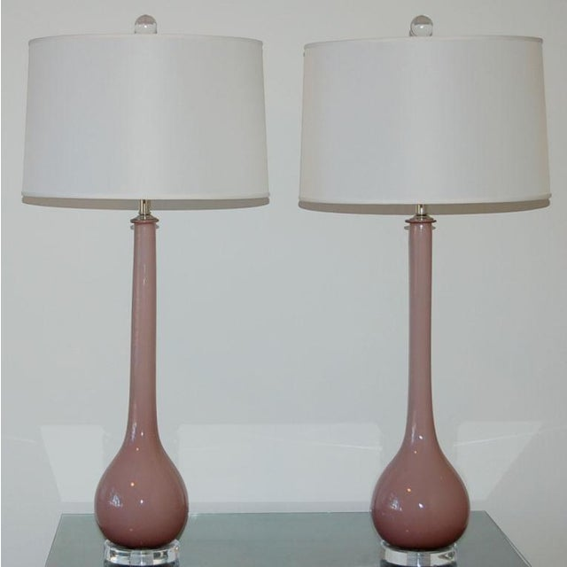 Hollywood Regency Vintage Murano Glass Long Neck Table Lamps Lavender For Sale - Image 3 of 8