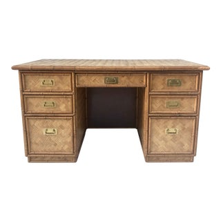 1960's Boho Chic Bamboo and Wicker Executive Desk For Sale