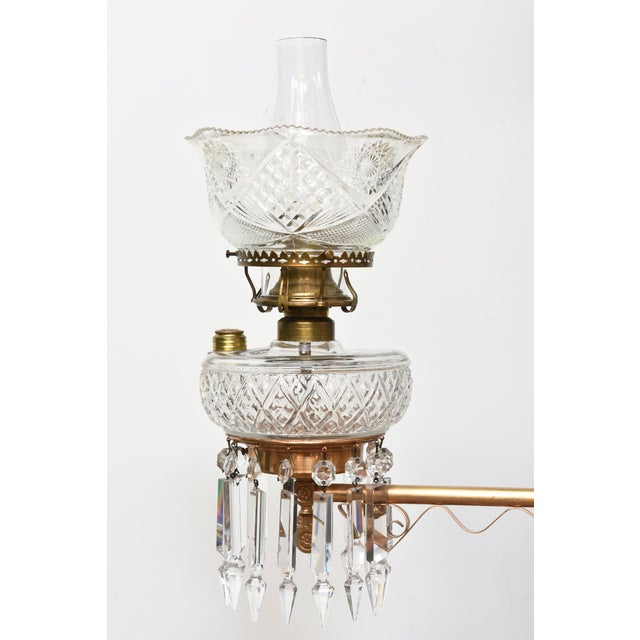Three Light Aesthetic Movement Red Brass and Crystal Chandelier For Sale - Image 10 of 11