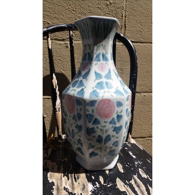 Hand Painted Peonies Porcelain Vase - Image 2 of 6