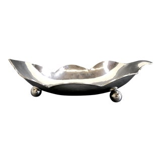 Vintage Sterling Silver Scalloped Edge Bowl With Ball Feet