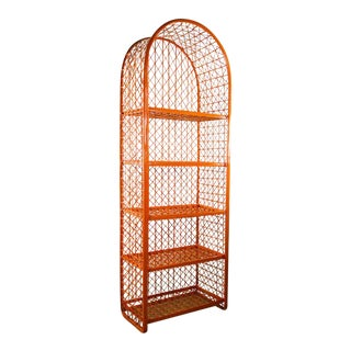 1960's Vintage Mid Century Modern Orange Faux Wicker Arched Shelf Display and Bookcase For Sale