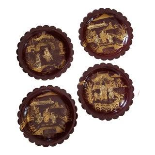 Set of Four Antique English Jappaned Papier Mache Plates For Sale
