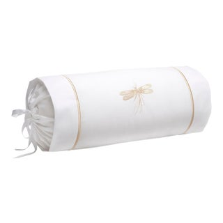 Beige Classic Dragonfly Bolster Cushion with Insert, Embroidered For Sale