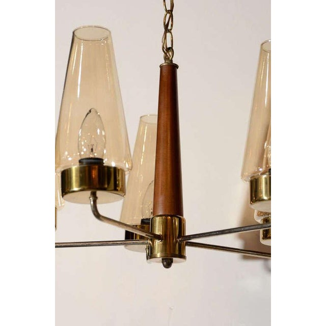 Mid-Century Modern Danish Chandelier in Teak and Brass For Sale In New York - Image 6 of 9