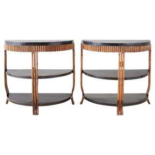 Pair of Modern Lacquered Three-Tier Bamboo Demilune Tables For Sale