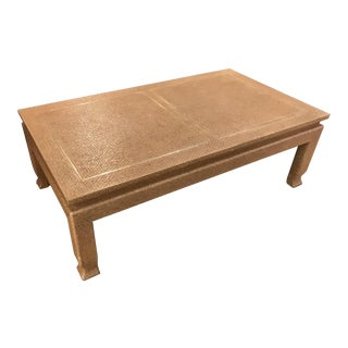 Grass Cloth Karl Springer Style Coffee Table With Brass Inlay
