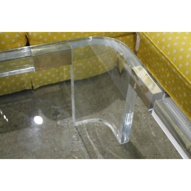 Charles Hollis Jones Lucite and Brass Triangle Coffee or Cocktail Table For Sale In West Palm - Image 6 of 11
