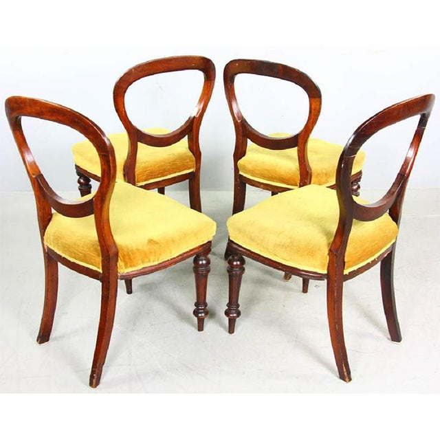 French 1970s Vintage Mahogany Yellow Velvet Louis XVI Victorian Side or Dining Chairs- Set of 4 For Sale - Image 3 of 11