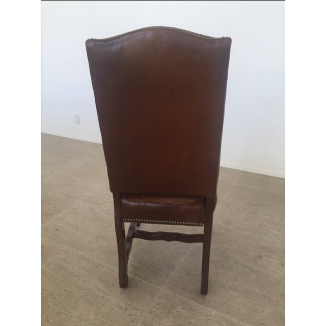 Leather Dining Chairs With Nailheads - Set of 6 - Image 9 of 9