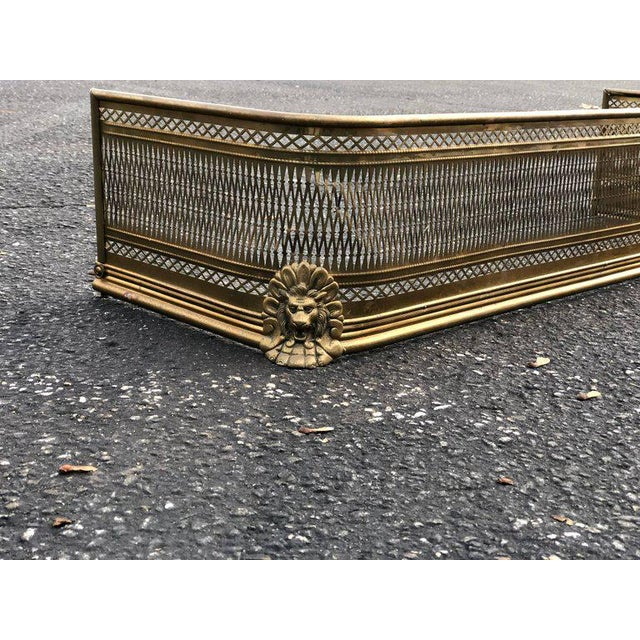 Pierced Brass Fireplace Fender With Lions For Sale - Image 4 of 11