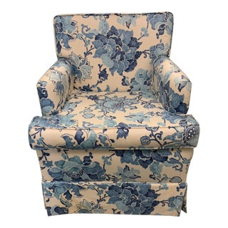 Blue & Off White Upholstered Armchair For Sale