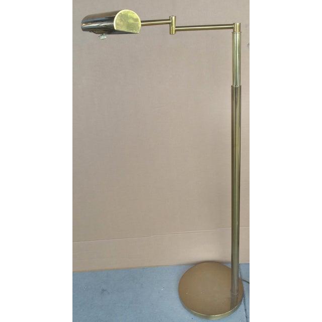 Koch & Lowy Brass Swing Arm Floor Lamp - Image 3 of 11