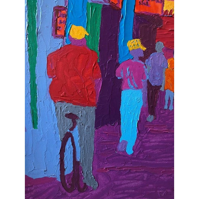 """Dan Bissell Sep 83"" Colorful Street Scene Oil on Canvas, Signed For Sale - Image 4 of 11"