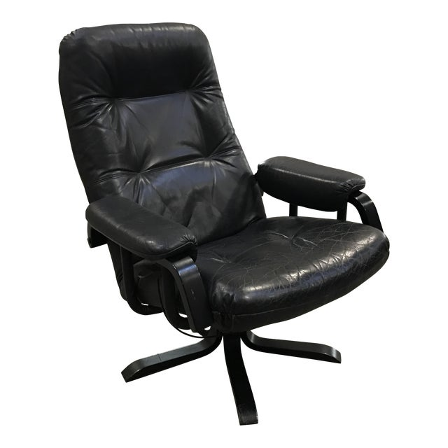 Mid-Century Modern Swedish Black Leather Recliner - Image 1 of 3