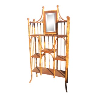 1940s Asian Antique Bamboo Hallway Shelf With Vanity Mirror For Sale