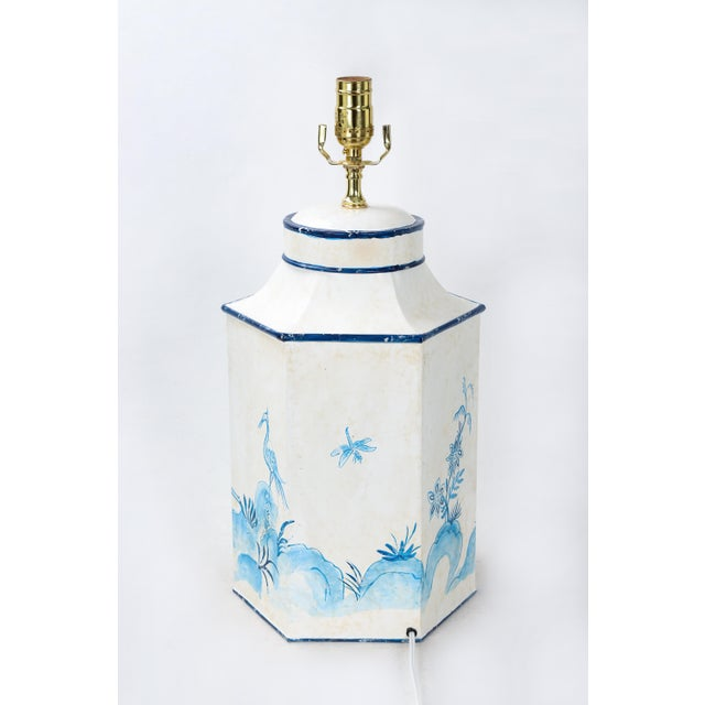 """Early 20th Century Vintage Blue & White English Export Chinoiserie Tole Hexagon Tea Caddy Lamp """"#1"""" For Sale - Image 5 of 7"""