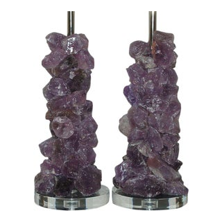 Quartz Rock Crystal Table Lamps by Swank Lighting Lavender For Sale
