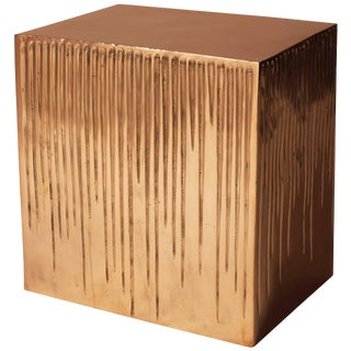 Hand Casted Polished Bronze Box Stool For Sale