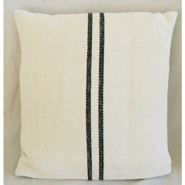 French Grain Sack Down & Feather Pillows - Pair - Image 6 of 10