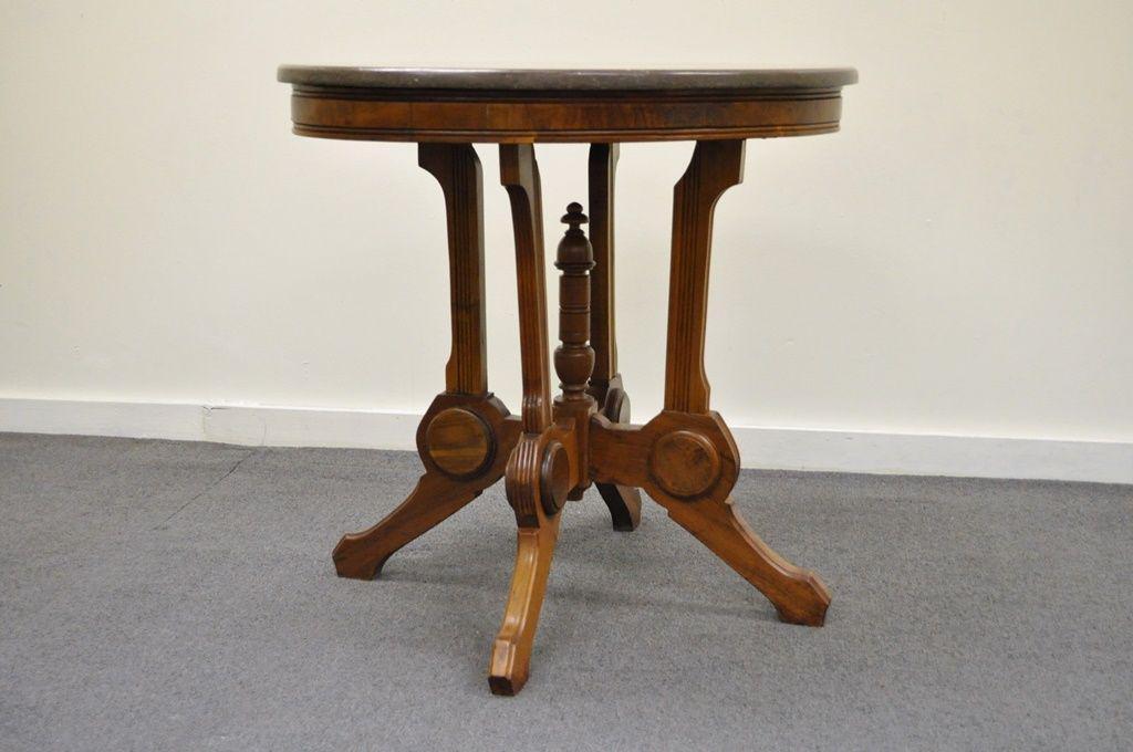 Antique Victorian Marble Top Carved Walnut Oval Eastlake Side Table Vintage  For Sale   Image 4