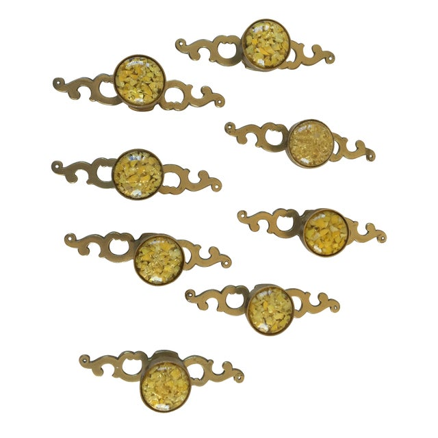 Mid-Century Brass Knobs With Backplates - Set of 8 - Image 1 of 7