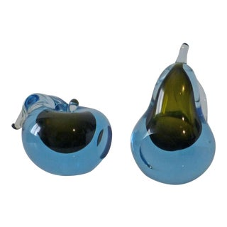 Alfredo Barbini Murano Blue Green Bookends Apple & Pear - a Pair