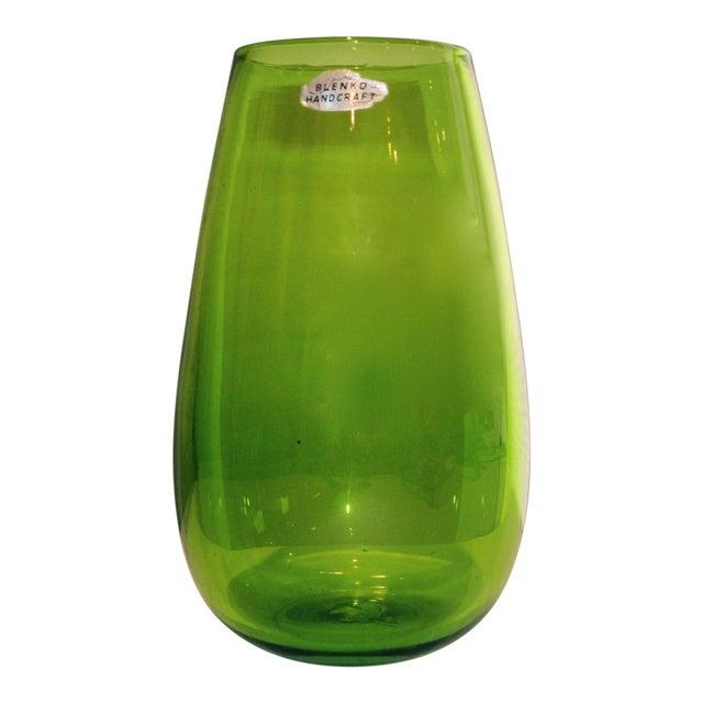 Blenko Green Art Glass Vase - Image 1 of 10